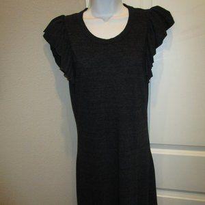 CHA SOR LADIES BLACK RUFFLE CAP SLEEVE DRESS